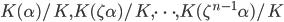 K(\alpha)/K,  K(\zeta\alpha)/K, \cdots, K(\zeta^{n-1}\alpha)/K