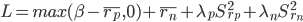 L = max(\beta - \overline{r _ p} , 0) + \overline{r _ n} + \lambda _ p S ^ 2 _ {r _ p} + \lambda _ n S ^ 2 _ {r _ n}