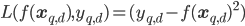 L(f(\mathbf{x}_{q,d}), y_{q, d})=(y_{q,d}-f(\mathbf{x}_{q,d})^2)