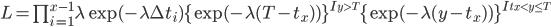 L= \prod_{i=1}^{x-1}\lambda \exp(-\lambda \Delta t_i) \{\exp(-\lambda (T-t_x))\}^{I_{y>T}} \{\exp(-\lambda (y-t_x))\}^{I_{t_x < y \le T}}