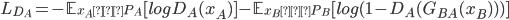 L_{D_{A}} = -\mathbb{E}_{x_A 〜 P_A}[log D_A(x_A)] - \mathbb{E}_{x_B 〜 P_B}[log (1-D_A(G_{BA}(x_B)))]