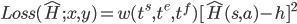 Loss(\hat{H};x,y) = w(t^s,t^e,t^f) [\hat{H}(s,a) - h ]^2