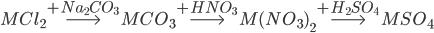MC{l_2}\buildrel { + N{a_2}C{O_3}} \over\longrightarrow MC{O_3}\buildrel { + HN{O_3}} \over\longrightarrow M{(N{O_3})_2}\buildrel { + {H_2}S{O_4}} \over\longrightarrow MS{O_4}