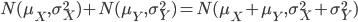 N(\mu_X, \sigma^2_X)+N(\mu_Y, \sigma^2_Y)=N(\mu_X+\mu_Y, \sigma^2_X+\sigma^2_Y)
