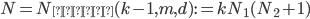 N=N_{\text{車輪}}(k-1, m, d):=kN_1(N_2+1)