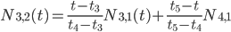 N_{3,2}(t)=\frac{t-t_{3}}{t_{4}-t_{3}} N_{3,1}(t) + \frac{t_{5}-t}{t_{5}-t_{4}}N_{4,1}