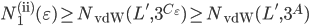 N_1^{(\mathrm{ii})}(\varepsilon) \geq N_{\mathrm{vdW}}(L', 3^{C_{\varepsilon}}) \geq N_{\mathrm{vdW}}(L', 3^{A})