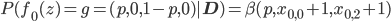 P(f_0(z)=g=(p,0,1-p,0)|\mathbf{D})=\beta(p,x_{0,0}+1,x_{0,2}+1)