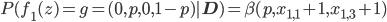 P(f_1(z)=g=(0,p,0,1-p)|\mathbf{D})=\beta(p,x_{1,1}+1,x_{1,3}+1)