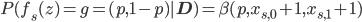 P(f_s(z)=g=(p,1-p)|\mathbf{D})=\beta(p,x_{s,0}+1,x_{s,1}+1)