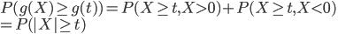 P(g(X)\geq g(t))=P(X\geq t, X\gt 0)+P(X\geq t, X\lt 0)\\=P(|X|\geq t)