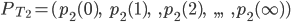 P_{T_{2}}=(p_{2}(0),\hspace{5}p_{2}(1),\hspace{5},p_{2}(2),\hspace{5},,,\hspace{5},p_{2}(\infty))