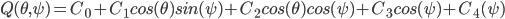 Q(\theta,\psi)=C_0+C_1cos(\theta)sin(\psi)+C_2cos(\theta)cos(\psi)+C_3cos(\psi)+C_4(\psi)