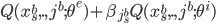 Q(x^b_s,.,j^b; \theta^e) + \beta_{j^b_s}Q(x^b_s,.,j^b; \theta^{i})