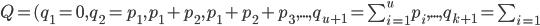 Q=(q_1=0,q_2=p_1,p_1+p_2,p_1+p_2+p_3,...,q_{u+1}=\sum_{i=1}^u p_i,...,q_{k+1}=\sum_{i=1