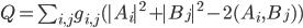 Q=\sum_{i,j}g_{i,j}(|A_i|^2+|B_j|^2-2(A_i,B_j))