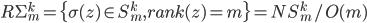 R\Sigma_m^k = \{\sigma(z) \in S_m^k, rank(z) = m\} = NS_m^k/O(m)