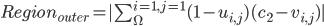 Region _ {outer} = | \sum ^ {i=1, j=1} _ {\Omega} ( 1 - u _ {i,j} ) (c _ 2 - v _ {i,j}) |