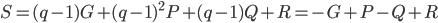 S=(q-1)G + (q-1)^{2} P + (q-1)Q + R = -G + P - Q + R