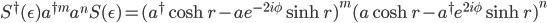 S^\dagger(\epsilon)a^{\dagger m}a^nS(\epsilon) = (a^\dagger\cosh r-a e^{-2i\phi}\sinh r)^m(a\cosh r-a^\dagger e^{2i\phi}\sinh r)^n