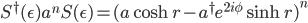S^\dagger(\epsilon)a^nS(\epsilon) = (a\cosh r-a^\dagger e^{2i\phi}\sinh r)^n