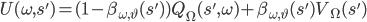 U(\omega,s') = (1 - \beta_{\omega,\vartheta}(s'))Q_\Omega(s',\omega) + \beta_{\omega,\vartheta}(s')V_\Omega(s')