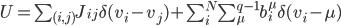 U=\sum_{(i,j)}J_{ij}\delta(v_i-v_j)+\sum_{i}^{N}\sum_{\mu}^{q-1}b_i^{\mu}\delta(v_i-\mu)