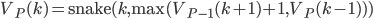 V_P(k) = \text{snake}(k, \max(V_{P - 1}(k + 1) + 1, V_P(k - 1)))