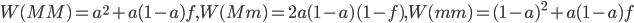 W(MM)=a^2+a(1-a)f,W(Mm)=2a(1-a)(1-f),W(mm)=(1-a)^2+a(1-a)f