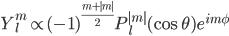 Y_l^m \propto (-1)^{\frac{m+|m|}{2}}P_l^{|m|}(\cos{\theta})e^{im\phi}