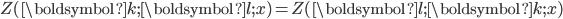 Z(\boldsymbol{k};\boldsymbol{l};x)=Z(\boldsymbol{l};\boldsymbol{k};x)