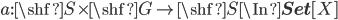a:\shf{S}\times \shf{G} \to \shf{S} \In {\bf Set}[X]