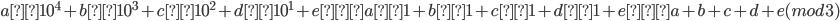 a×10^4 + b×10^3 + c×10^2 + d×10^1 + e ≡ a×1 + b×1 + c×1 + d×1 + e ≡ a + b + c + d +e (mod3)