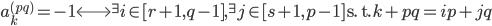 a_k^{(pq)}=-1 \Longleftrightarrow {}^{\exists}i \in [ r+1, q-1], {}^{\exists}j \in [ s+1, p-1] \ \text{s. t.} \ k+pq=ip+jq