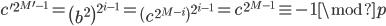 c'^{2^{M'-1}} = \left( b ^2 \right)^{2^{i-1}} = \left( c^{2^{M-i}} \right)^{2^{i-1}} = c^{2^{M-1}} \equiv -1 \mod p
