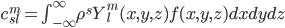 c_{sl}^m = \int_{-\infty}^\infty \rho^s Y^m_l(x,y,z) f(x,y,z) dx dy dz