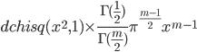 dchisq(x^2,1) \times \frac{\Gamma(\frac{1}{2})}{\Gamma(\frac{m}{2})}\pi^{\frac{m-1}{2}}x^{m-1}