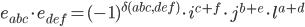 e_{abc}\cdot e_{def}=(-1)^{\delta(abc,def)}\cdot i^{c+f}\cdot j^{b+e}\cdot l^{a+d}