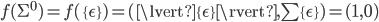 f(\Sigma^0) = f(\{\epsilon\}) = (\lvert \{\epsilon\} \rvert, \sum \{\epsilon\}) = (1, 0)
