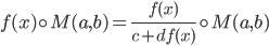 f(x)\circ M(a,b)=\frac{f(x)}{c+df(x)}\circ M(a,b)