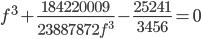f^3+\frac{184220009}{23887872f^3}-\frac{25241}{3456}=0