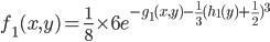 f_1(x,y) = \frac{1}{8} \times 6 e^{-g_1(x,y) -\frac{1}{3}( h_1(y) + \frac{1}{2})^3 }