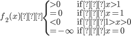 f_2(x) \begin{cases}>0&\text{if} x>1\\=0&\text{if} x=1\\<0&\text{if} 1>x>0\\=-\infty&\text{if} x=0\end{cases}
