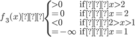 f_3(x) \begin{cases}>0&\text{if} x>2\\=0&\text{if} x=2\\<0&\text{if} 2>x>1\\=-\infty&\text{if} x=1\end{cases}