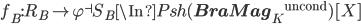 f_B:  R_B \to  \varphi^{\dashv}S_B\In Psh({{\bf BraMag}_K}^{\mathrm{uncond}})[X]