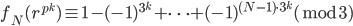 f_N(r^{p^k}) \equiv 1 - (-1)^{3^k} + \cdots +(-1)^{(N-1)\cdot 3^k} (\bmod 3)