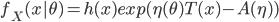 f_X(x|\theta) = h(x)exp(\eta (\theta) T(x)-A(\eta))