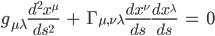 g_{\mu\lambd}\frac{d^2x^\mu}{ds^2}\hspace{3}+\hspace{3}\Gamma_{\mu,\nu\lambda}\frac{dx^\nu}{ds}\frac{dx^\lambda}{ds}\hspace{3}=\hspace{3}0