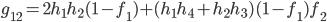 g_{12}=2h_1h_2(1-f_1)+(h_1h_4+h_2h_3)(1-f_1)f_2