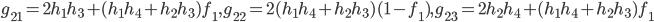 g_{21}=2h_1h_3+(h_1h_4+h_2h_3)f_1,g_{22}=2(h_1h_4+h_2h_3)(1-f_1),g_{23}=2h_2h_4+(h_1h_4+h_2h_3)f_1